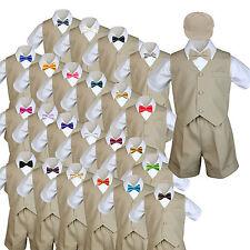 Baby Boys & Toddler Formal Vest Shorts Khaki Suits Extra Bow Tie 6pc Set sz S-4T