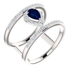Genuine Blue Sapphire & 1/3 CTW Diamond Negative Space Ring In Platinum