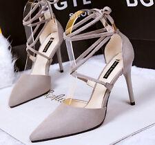 Décollte Scarpe decolte sandali  10 cm stiletto tacco spillo grigio 8620
