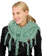 New! C.C Women's Soft Solid Chenille Net Fringed Tassel Infinity Wrap CC Scarf