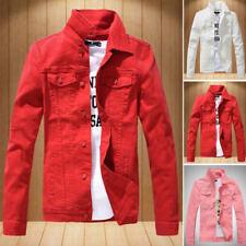 Men's Slim denim jacket motorcycle jean coat long sleeves outwear tops clothing