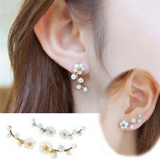 Hot Chic Lady Pearl Daisy Flowers Ear Cuff Earrings Studs Earrings ZW