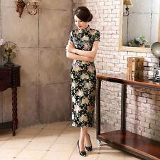 Luxurious Oriental Flowers Black Chinese Long Dress Cheongsam Qipao lcdress14