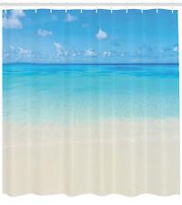 Tropical Shower Curtain Carribean Sea Beach Print for Bathroom
