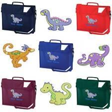 Personalizzata Ricamato LIBRO Borsa & Cinturino Con Dinosauro Design & Nome Scuola DIN