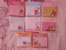 Cute Rilakkuma Sticky Memo Notes - 7 Pack Designs - 30 Sheets - Brand New!