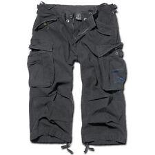 Hose Bermuda Brandit 2003.2 Industry 3/4 Cargo Shorts Vintage Kurze Schwarz