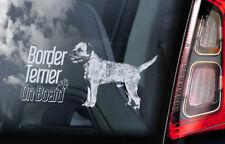 Border Terrier on Board - Car Window Sticker - Dog Sign Decal Art Gift Idea -V02