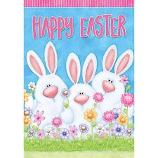 Happy Easter Bunny family Garden Flag Double-sided House Decor Yard Banner