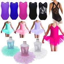 Girls Kids Leotard Ballet Tutu Dress Gymnastic Dancewear Bodysuit Tank Costumes
