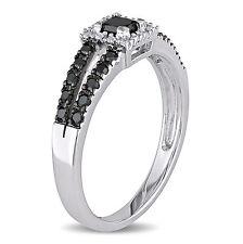 Amour 10k White Gold 1/2 Ct TDW Black and White Diamond Ring H-I I2-I3