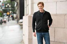 """Men's Pure Alpaca Zip-Front Mock Neck Cardigan Sweater Charcoal """"Aldo"""""""