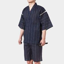 Mens Japanese Pyjama Suit Yukata Jinbei Traditional Kimono Nightwear Stripe Cosy