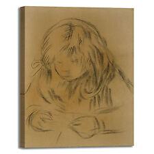 Renoir bambino che cuce design quadro stampa tela dipinto telaio arredo casa