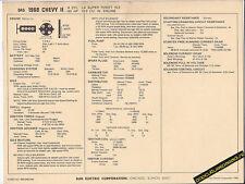 1968 CHEVY II 4 Cylinder SUPER THRIFT 153 ci/90 hp Car SUN ELECTRONIC SPEC SHEET