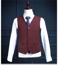 Men's Burgundy Tweed Herringbone Formal Vest Formal Business Casual Waistcoat