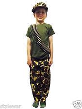 Unisex Esercito Mimetica pantalone CAP BULLET t shirt set completo accessori