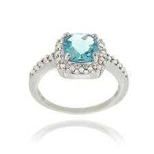 925 Silver Swiss Blue Topaz & Diamond Accent Square Ring