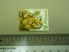 Malaysia 20 sen Stamp Dicerorhinus Sumatrensis / Sumatran Rhino Art