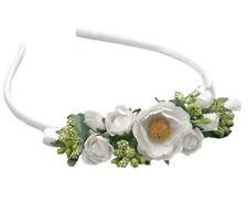 Mädchen Haarreifen Haarschmuck Kopfschmuck Kommunion Hochzeit Blumenmädchen weiß