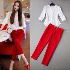 Elegante raffinato Tailleur completo donna rosso bianco pantalone camicia  W9001
