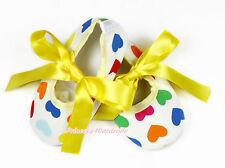 Toddler Infant Newborn Baby Yellow Ribbon Rainbow Hearts Crib Shoes NB-18Month