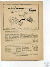 Kayser Hosiery Gloves Lingerie Nylon 1950's Original Ad