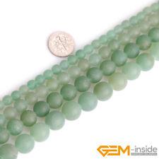 Natural Green Aventurine Jade Stone Semi Precious Forested Matt Round Beads 15