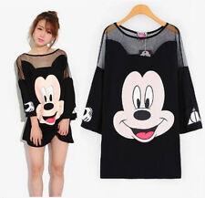 Women Net Yarn Splicing Long Tee Shirt Sexy Loose Mickey Mouse Sleeve Tops Girl