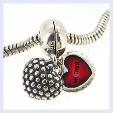 STR Silver Mother Daughter You & Me Heart Dangle Bead f/ European Charm Bracelet