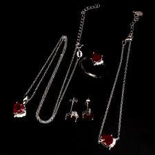 Ruby Heart 6mm Cz 925 Sterling Silver Set Of Necklace Bracelet Earrings Ring