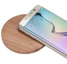 Chargeur sans fil induction Qi pour Apple iphone 8 8+ + plus X 10 en bois bambou