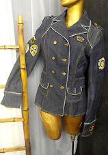 DEREON ACADEMY Jeans Lady's Jacket Blue Denim Classic BLAZER Sz M