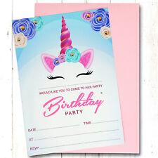Unicorn Birthday Party Invitations Invites 10x Pack, Girl Children Kids Pack
