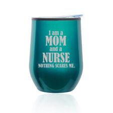 Stemless Wine Tumbler Coffee Travel Mug Glass Cup w/ Lid Nurse Mom
