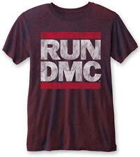 """Run DMC 'Vintage Logo"""" (Azul Marino/Rojo) Burnout Camiseta-Nuevo Y Oficial!"""