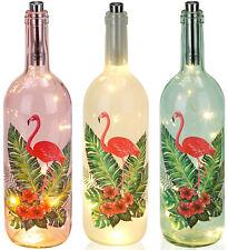 BRUBAKER Flamant Lampe Bouteille Lumineuse Led bouchon 35cm Rose Vert Blance