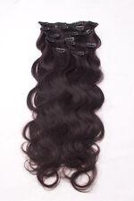 #1b schwarzbraun Clip in GEWELLT Hair Extensions 100% Remy Echthaar 7 teilig Set