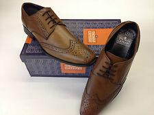 Mens Designer Leather Tan Brogues Shoes Vintage Look