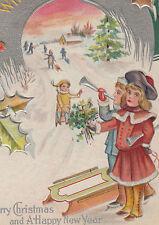 Children Snow Sled Horns Christmas New Year Postcard