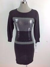 Calvin Klein Exquisito Bloque Color Vestido Suéter Plata/Gris Carbón Delantero