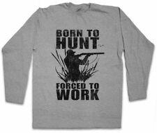 BORN TO HUNT LANGARM T-SHIRT Jäger Jagen Jagd Hirsch Bär Hunter Hunting Deer