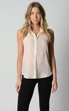 Sportsgirl Ladies Fashion Sleeveless Button Down Shirt sizes 6 16 Colour Peach