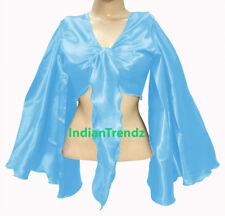 Sky Blue - Satin Tie Top Belly Dance Flair Wrap Choli Gypsy Haut Danse Blouse