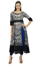 Bimba Womens Designer Black Custom Kurta Tunic Top Long Front Slits kurti Dress