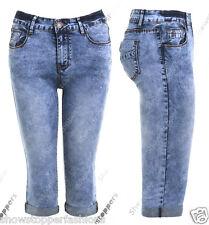Donna 3/4 Denim Calzoncini Pantaloncini Capri Size 6 8 10 12 14 16 Blu Pantaloni