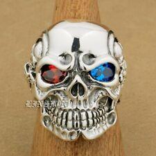 925 Sterling Silver Red Blue CZ Eyes Titan Skull Mens Biker Gothic Ring 8V805B