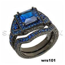Princess Cut Blue Sapphire Black Bridal 925 Silver Engagement Wedding Ring Set