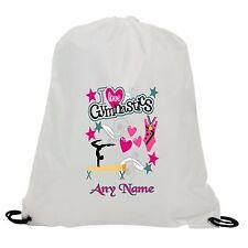 PERSONALISED I LOVE GYMNASTICS SUBLIMATION GYM SWIMMING PE DRAWSTRING BAG