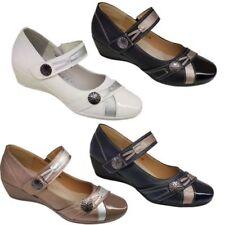 femmes confortable semelle à enfiler RUBAN bas compensé chaussures simili cuir